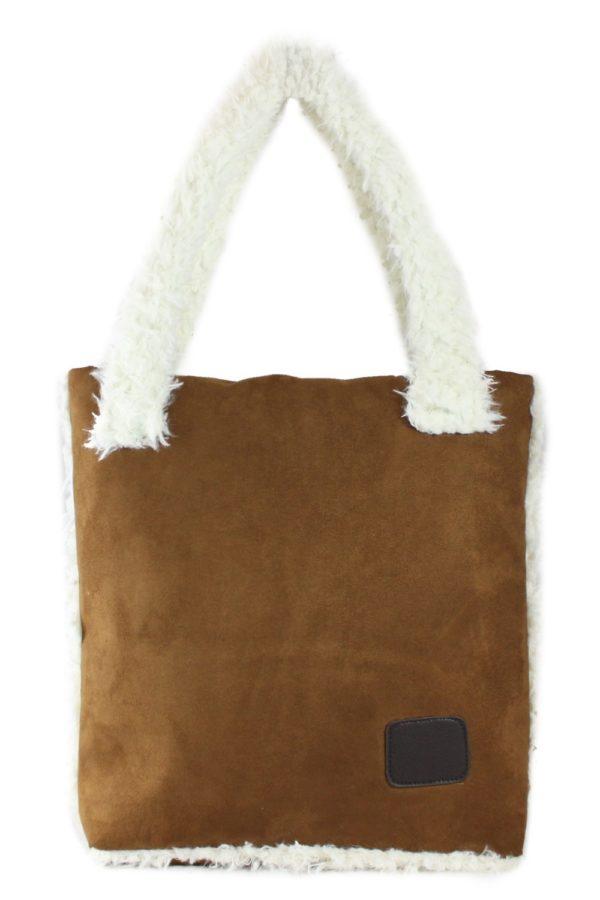 Τσάντα Ώμου Σουέτ με Γούνα