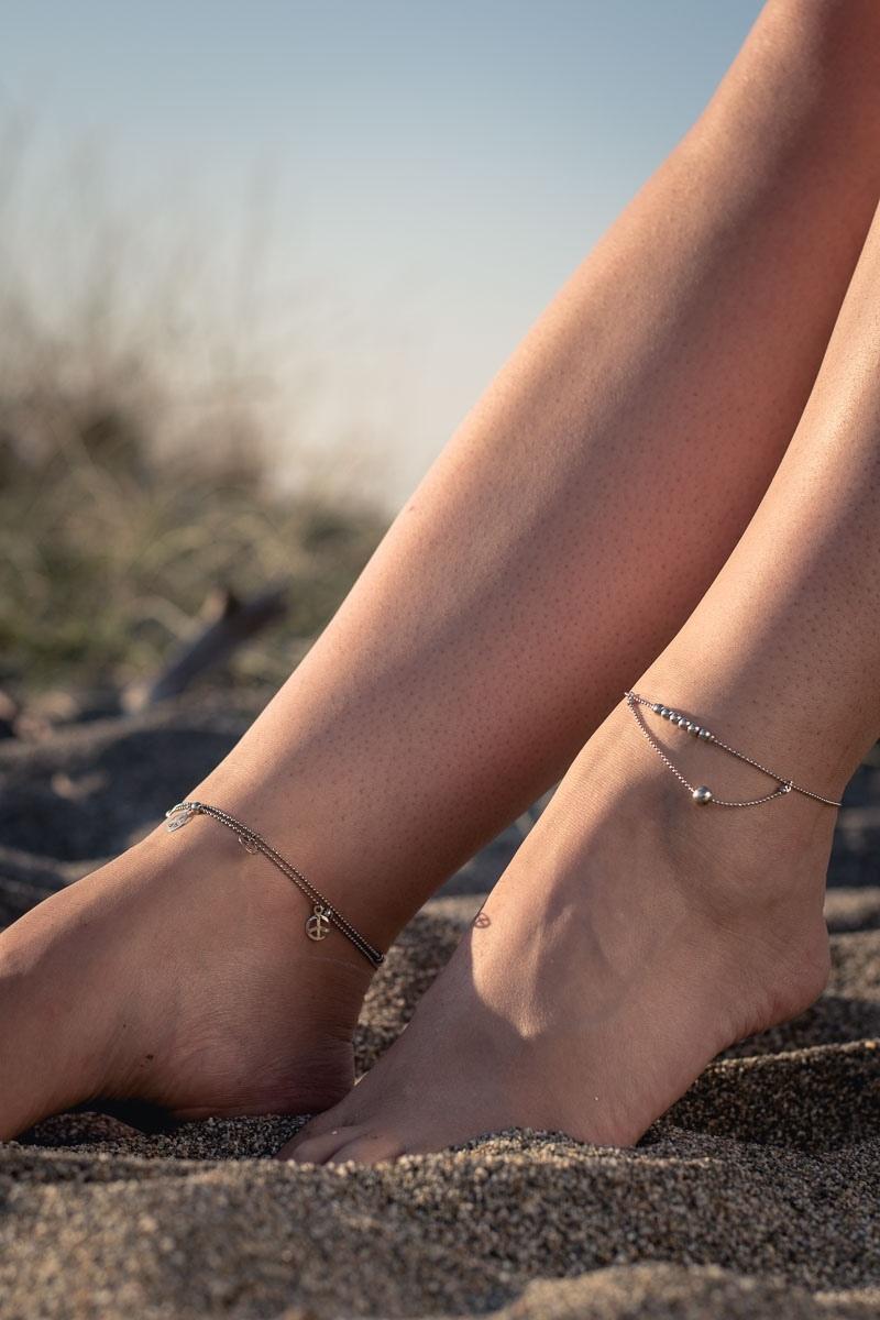 Boho Βραχιόλι για το Πόδι Ασημί Σήμα της Ειρήνης
