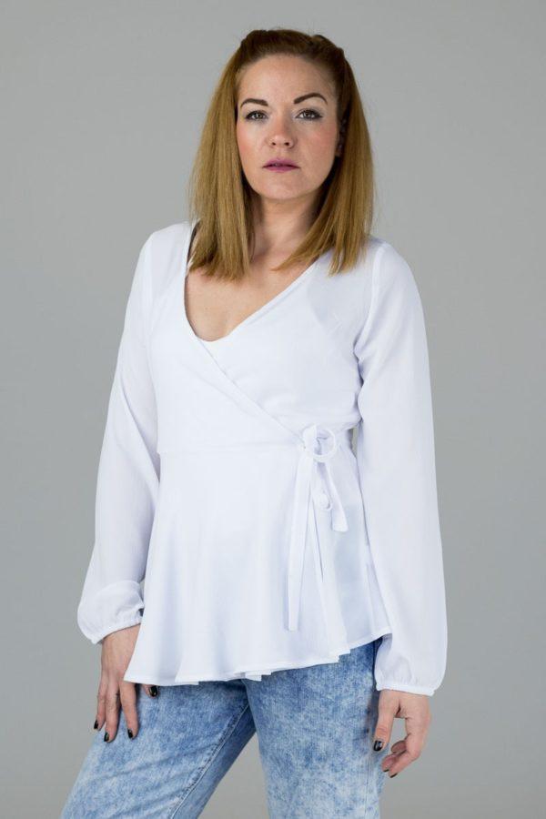 Άσπρη Μπλούζα Κρουαζέ Δετή