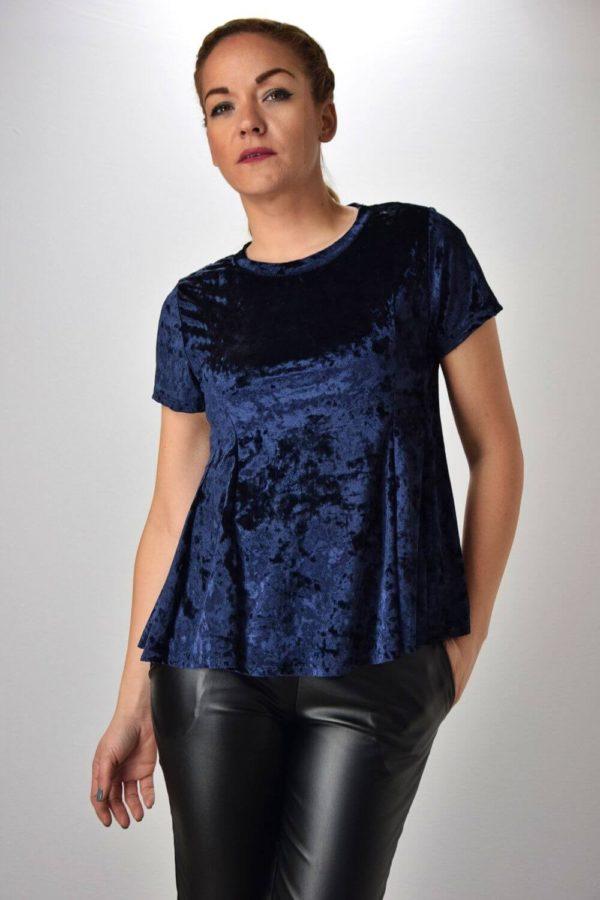 Μπλε Βελούδινη Μπλούζα Κοντομάνικη