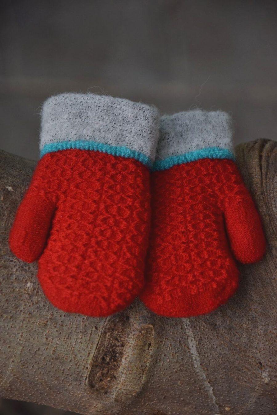 Γάντια Wool Stiches Double Leaves Button