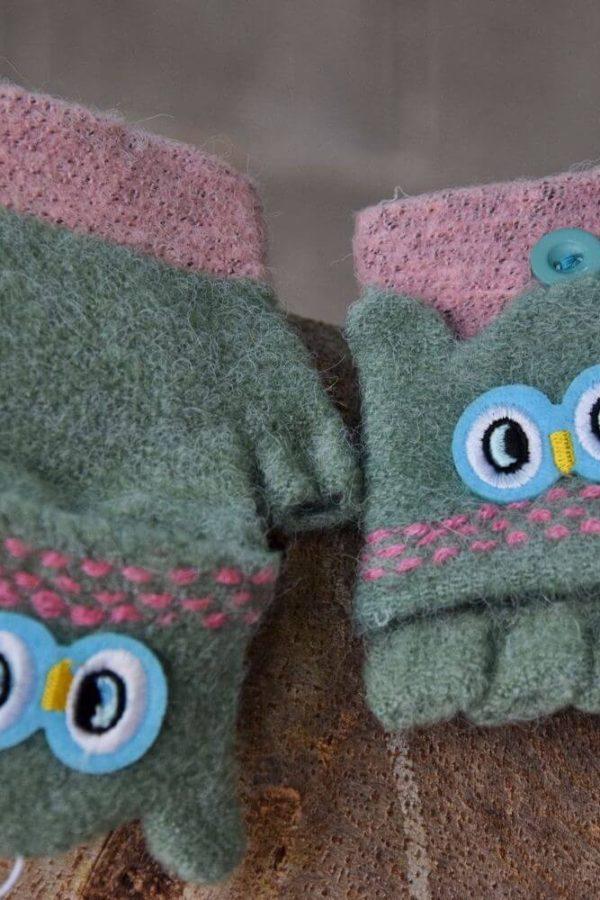 Παιδικά Γάντια Πλεκτά Owls Cover