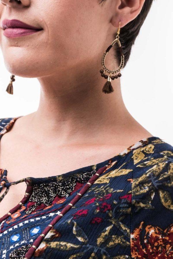Σκουλαρίκια Κρεμαστά Σταγόνες με Φούντες