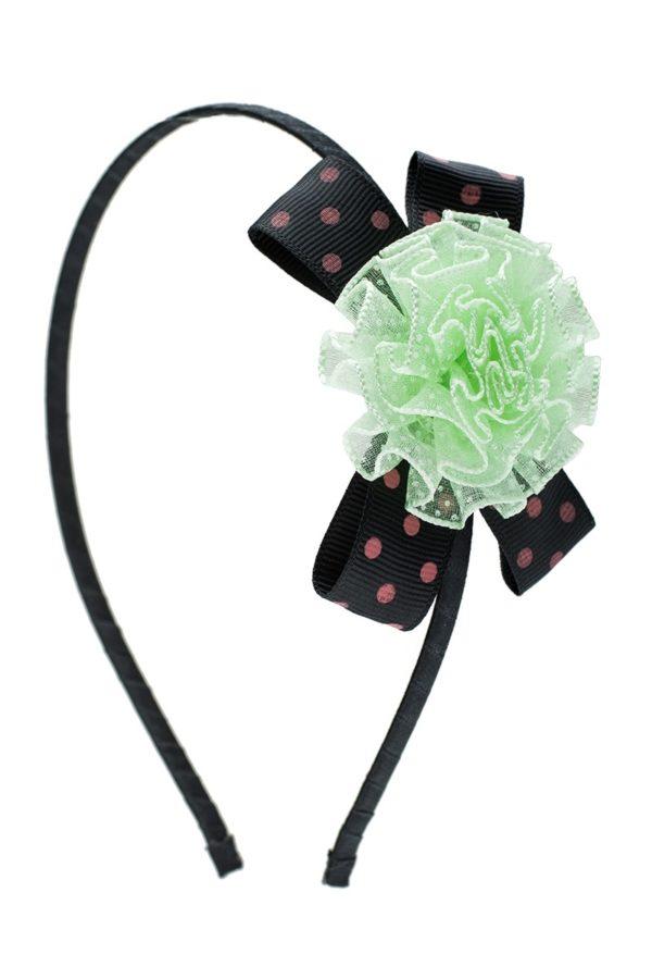 Στέκα Μαλλιών με Λουλούδι Πουά Πράσινο