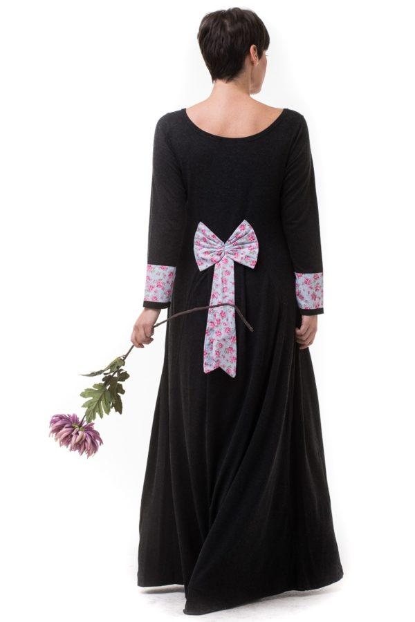Γκρι Μακρύ Φόρεμα με Ουρά & Φιόγκο Φλοράλ