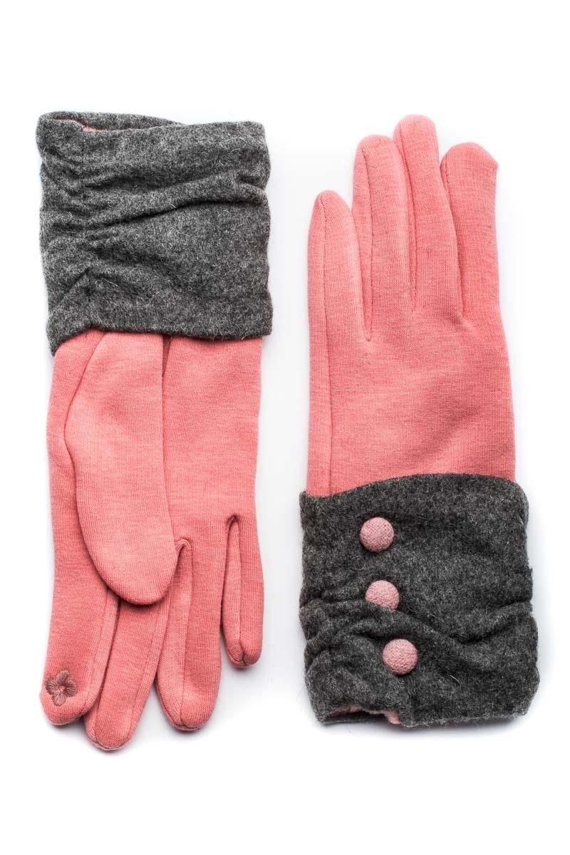 Ροζ Γυναικεία Γάντια Με Κουμπιά