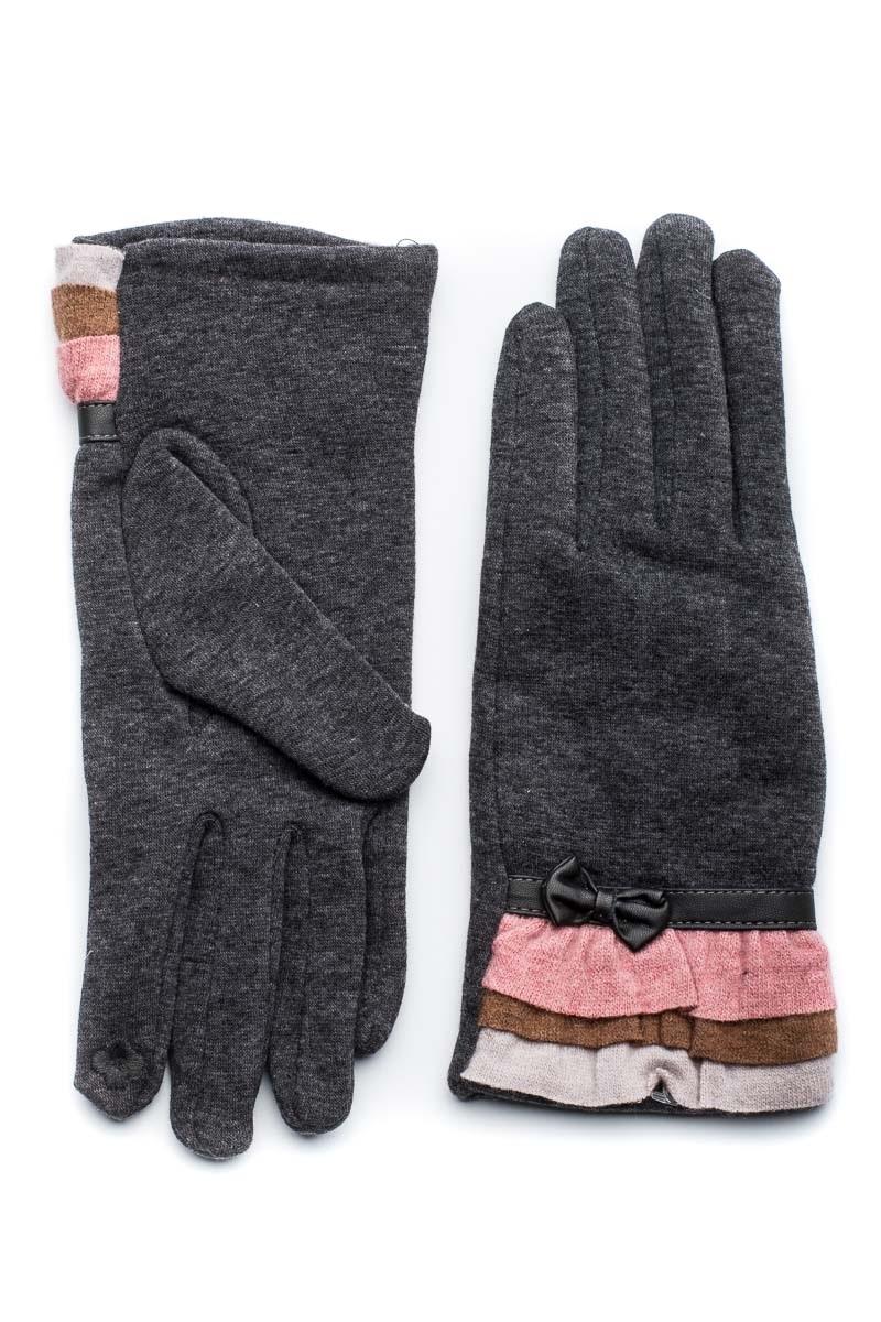 Γκρι Γυναικεία Γάντια Με Βολάν
