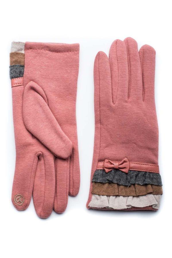 Ροζ Γυναικεία Γάντια Με Βολάν