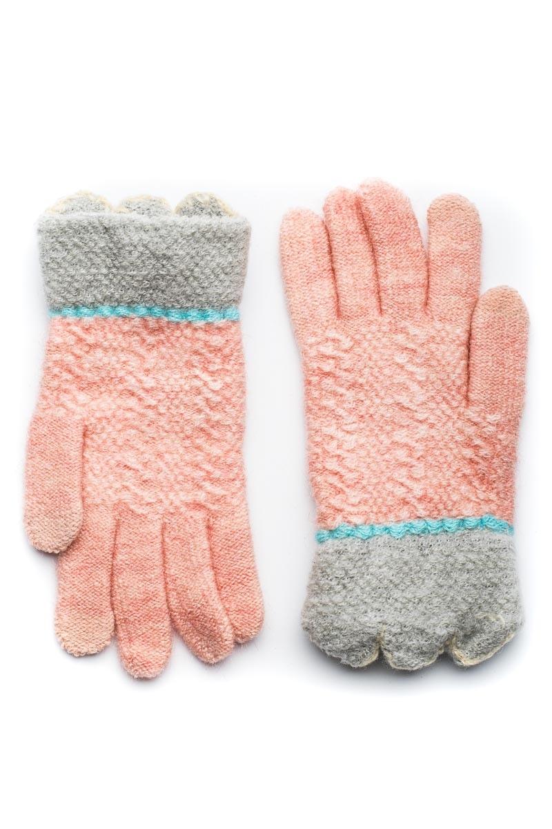Γκρι Πλεκτά Γάντια Γυναικεία Με Γλώσσες