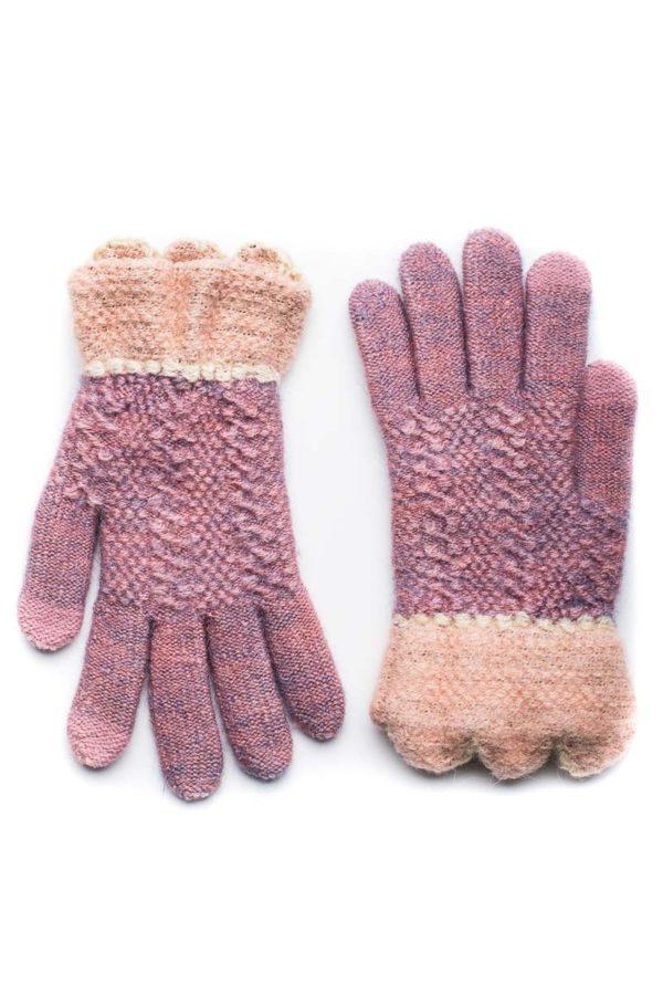 Ροζ Πλεκτά Γάντια Γυναικεία Με Γλώσσες