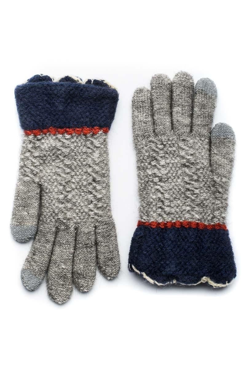 Μπλε Πλεκτά Γάντια Γυναικεία Με Γλώσσες