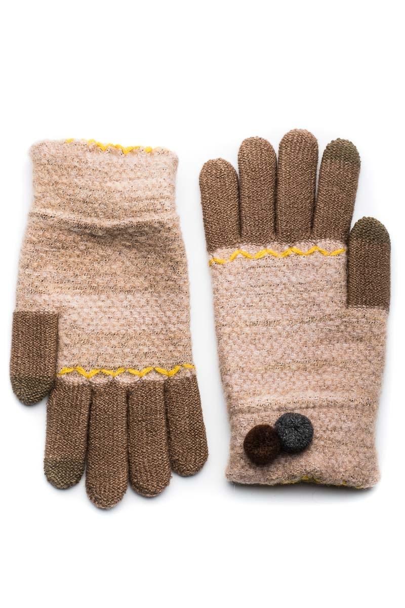 Μπεζ Πλεκτά Γάντια Γυναικεία Με Διπλό Πον Πον