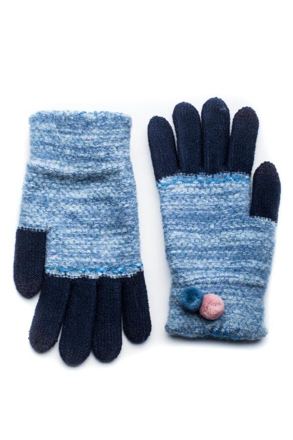 Μπλε Πλεκτά Γάντια Γυναικεία Με Διπλό Πον Πον
