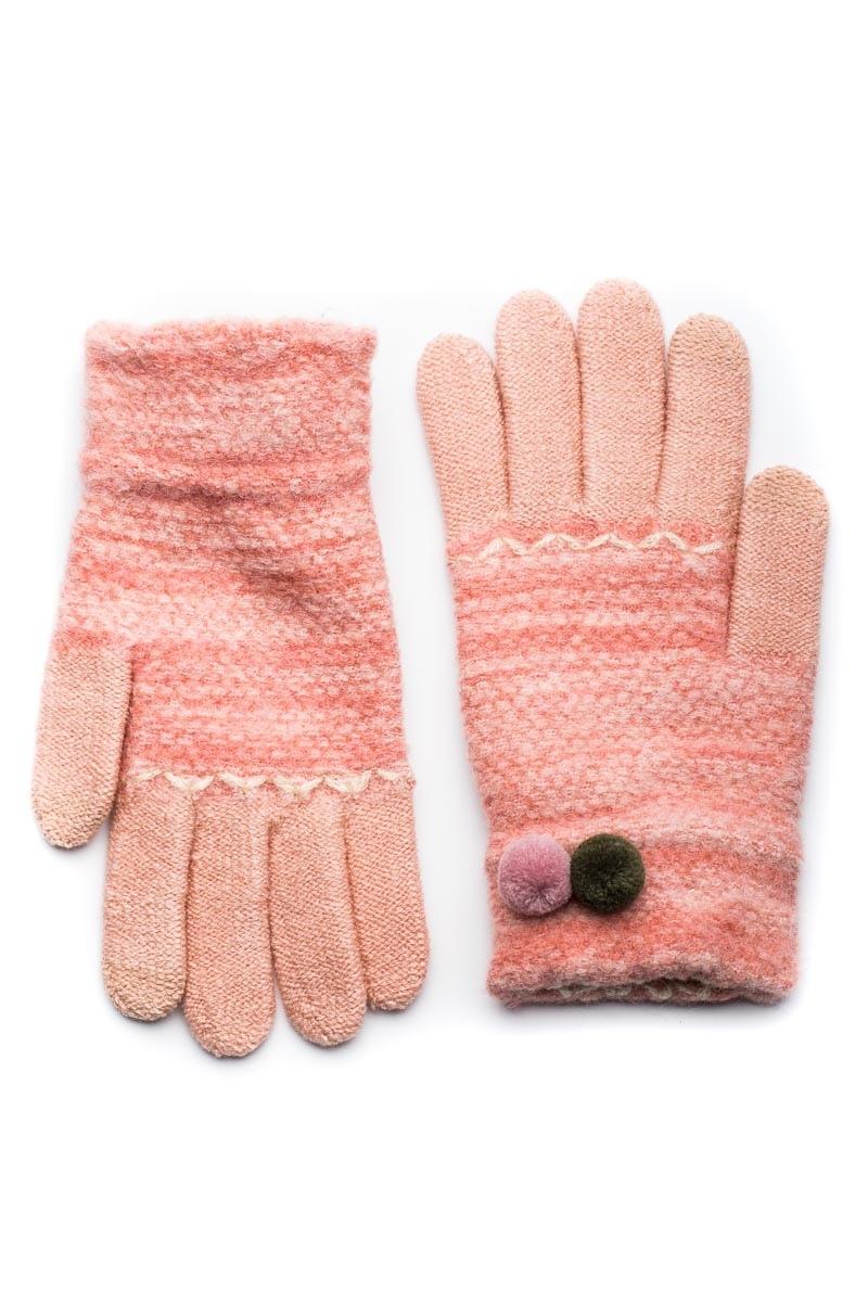 Ροζ Πλεκτά Γάντια Γυναικεία Με Διπλό Πον Πον