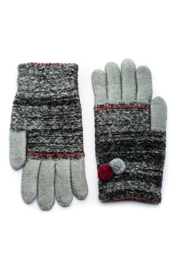 Μαύρα Πλεκτά Γάντια Γυναικεία Με Διπλό Πον Πον