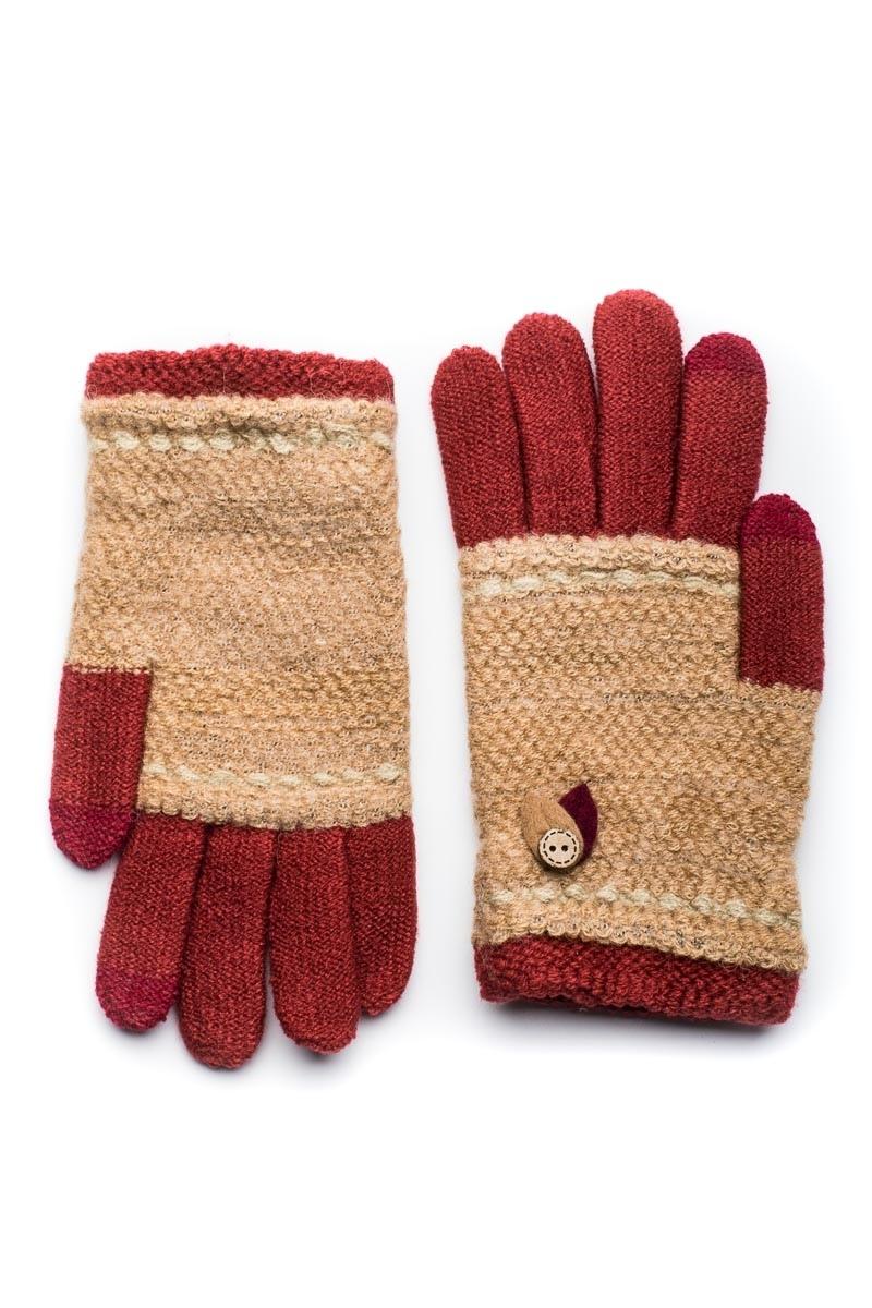 Μπορντό Πλεκτά Γάντια Γυναικεία Με Φύλλα Κουμπί