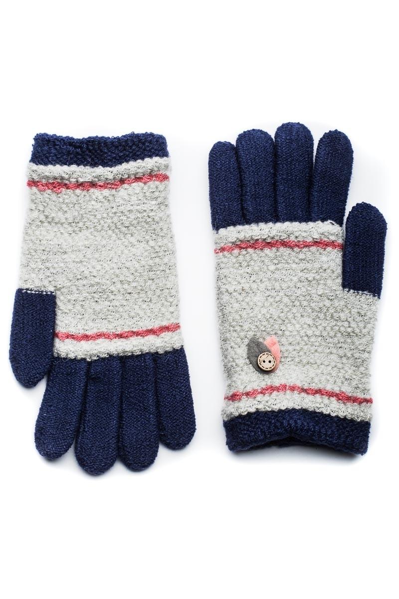 Μπλε Πλεκτά Γάντια Γυναικεία Με Φύλλα Κουμπί