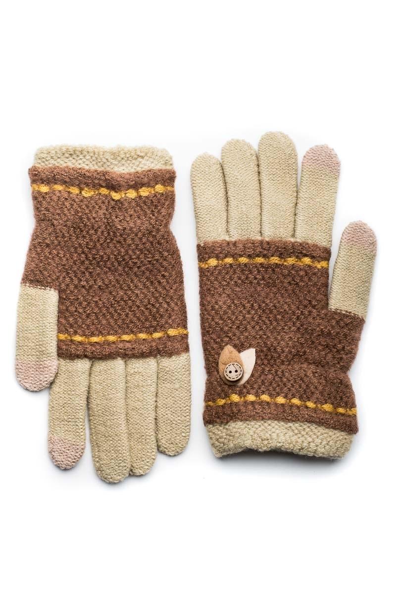 Μπεζ Πλεκτά Γάντια Γυναικεία Με Φύλλα Κουμπί
