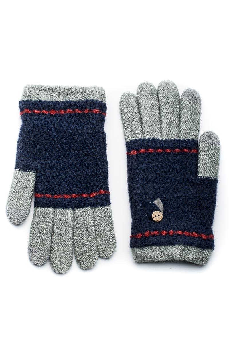 Γκρι Πλεκτά Γάντια Γυναικεία Με Φύλλα Κουμπί