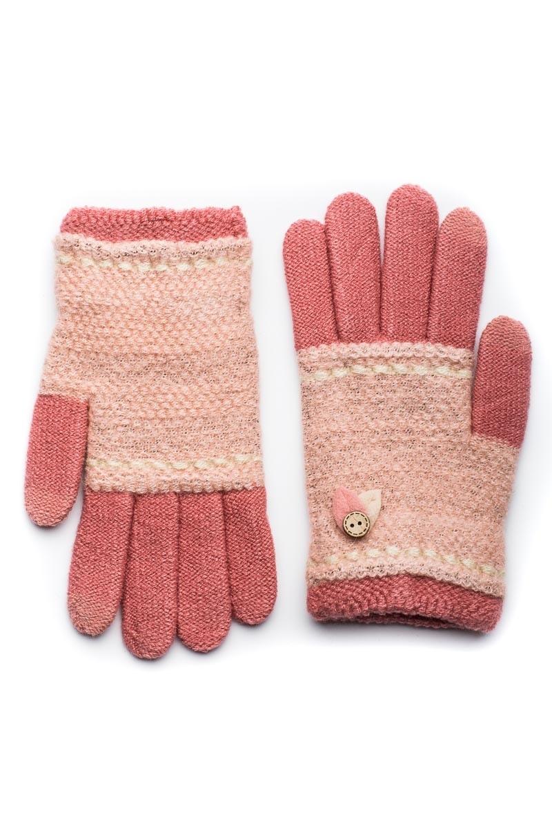 Ροζ Πλεκτά Γάντια Γυναικεία Με Φύλλα Κουμπί