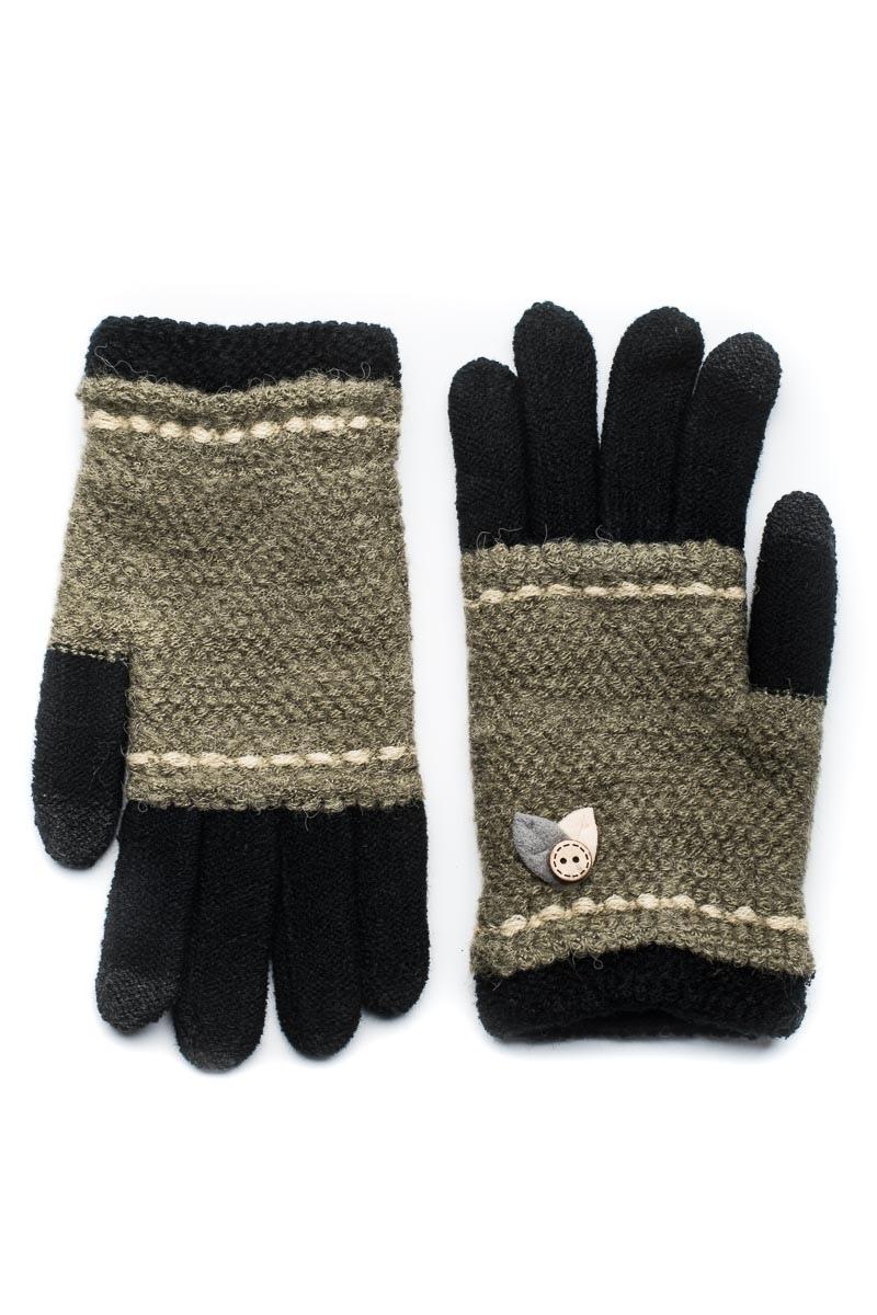 Μαύρα Πλεκτά Γάντια Γυναικεία Με Φύλλα Κουμπί