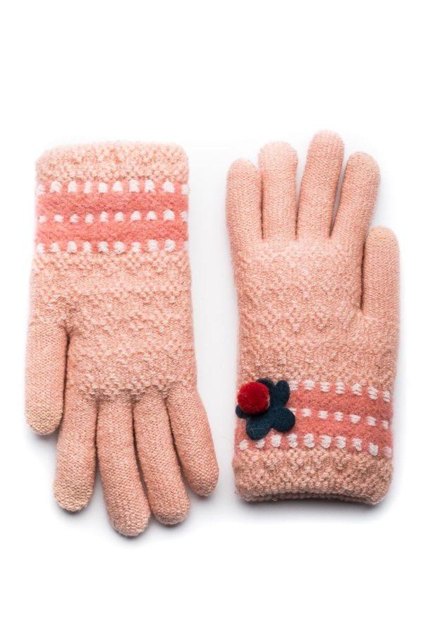 Σομόν Πλεκτά Γάντια Γυναικεία με Πεταλούδα
