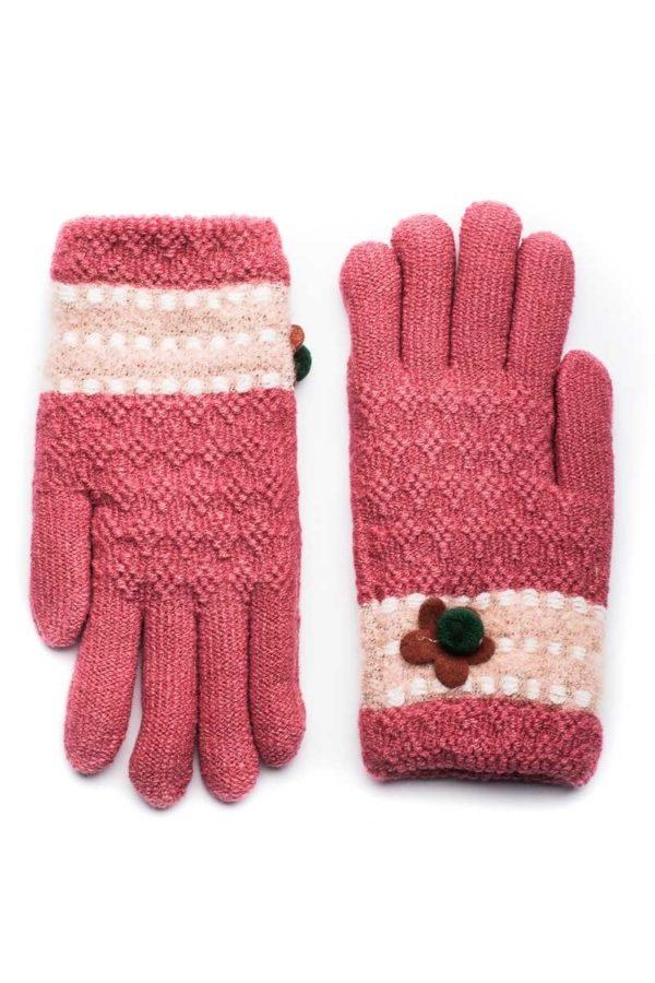 Ροζ Πλεκτά Γάντια Γυναικεία με Πεταλούδα