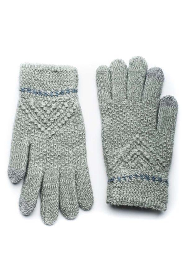 Γκρι Πλεκτά Γάντια Γυναικεία Με Διπλή Ραφή