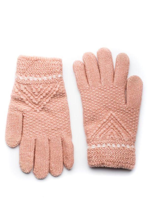 Ροζ Πλεκτά Γάντια Γυναικεία Με Διπλή Ραφή