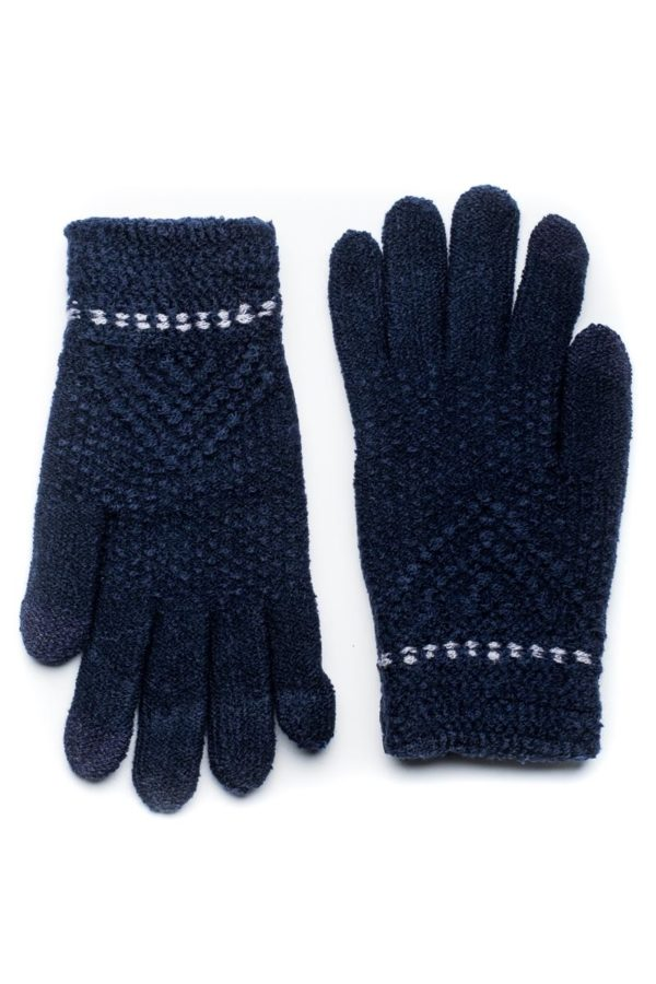 Μπλε Πλεκτά Γάντια Γυναικεία Με Διπλή Ραφή