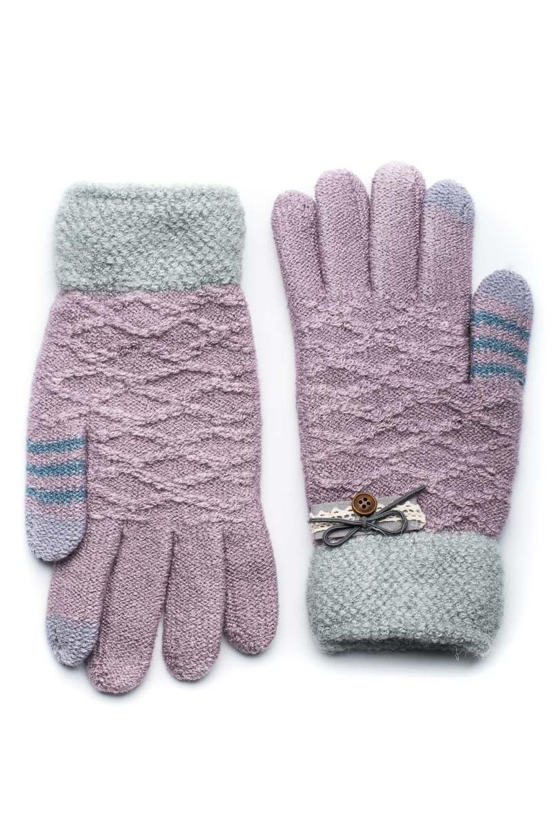 Μοβ Πλεκτά Γάντια Γυναικεία με Πλεκτή Δαντέλα