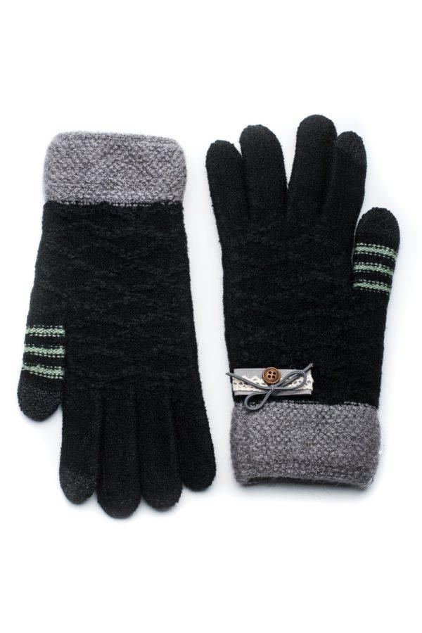 Μαύρο Πλεκτά Γάντια Γυναικεία με Πλεκτή Δαντέλα