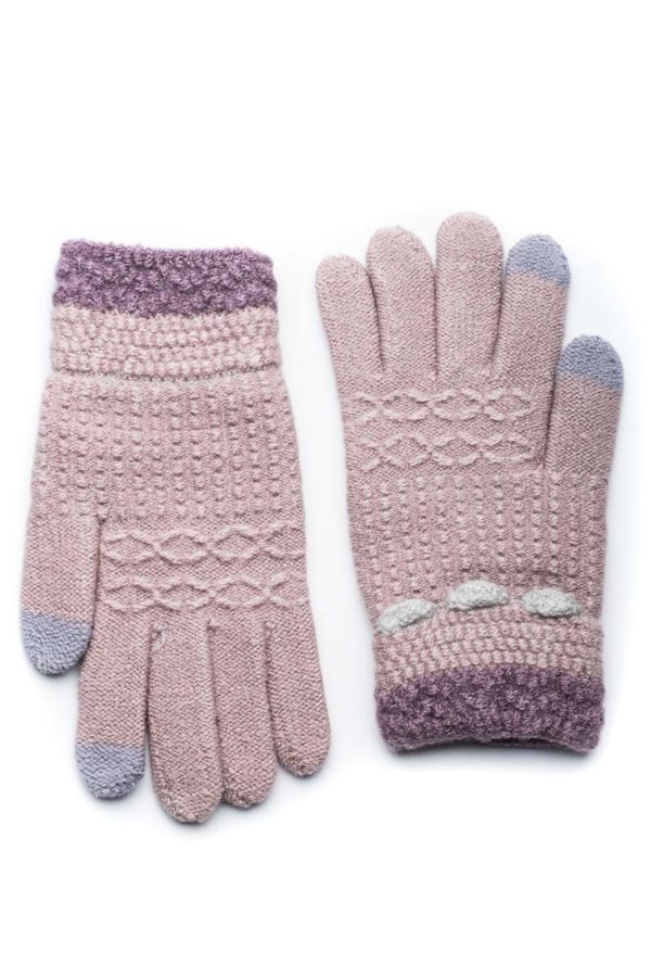 Μοβ Πλεκτά Γάντια Γυναικεία Με Ρίγα