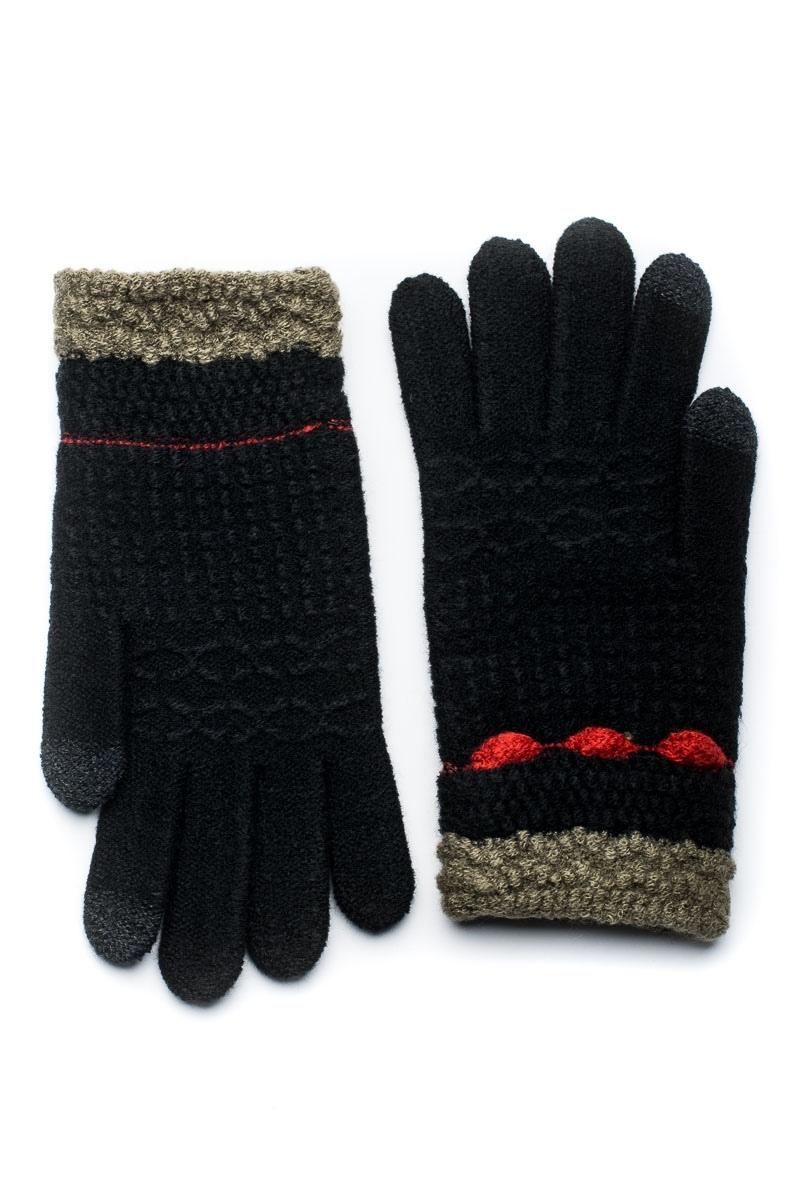 Μαύρα Πλεκτά Γάντια Γυναικεία Με Ρίγα