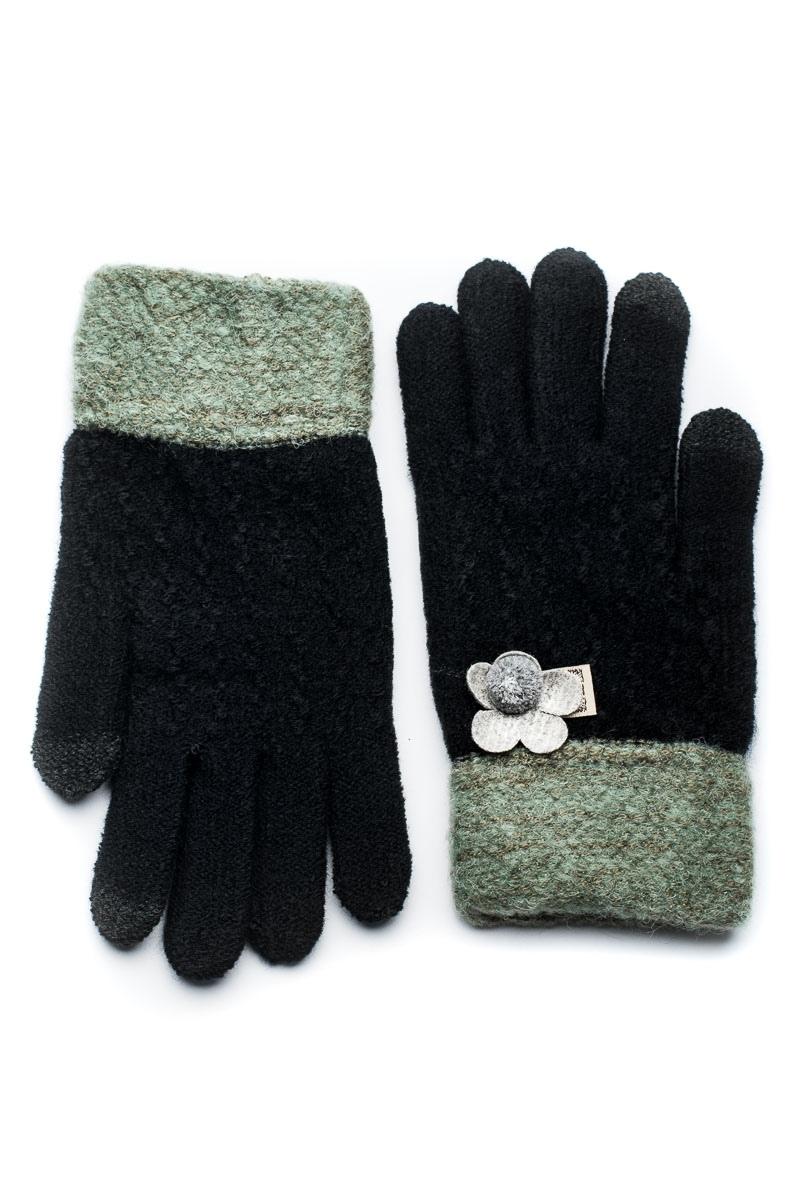 Μαύρα Πλεκτά Γάντια Γυναικεία Με Λουλούδι ΠονΠον