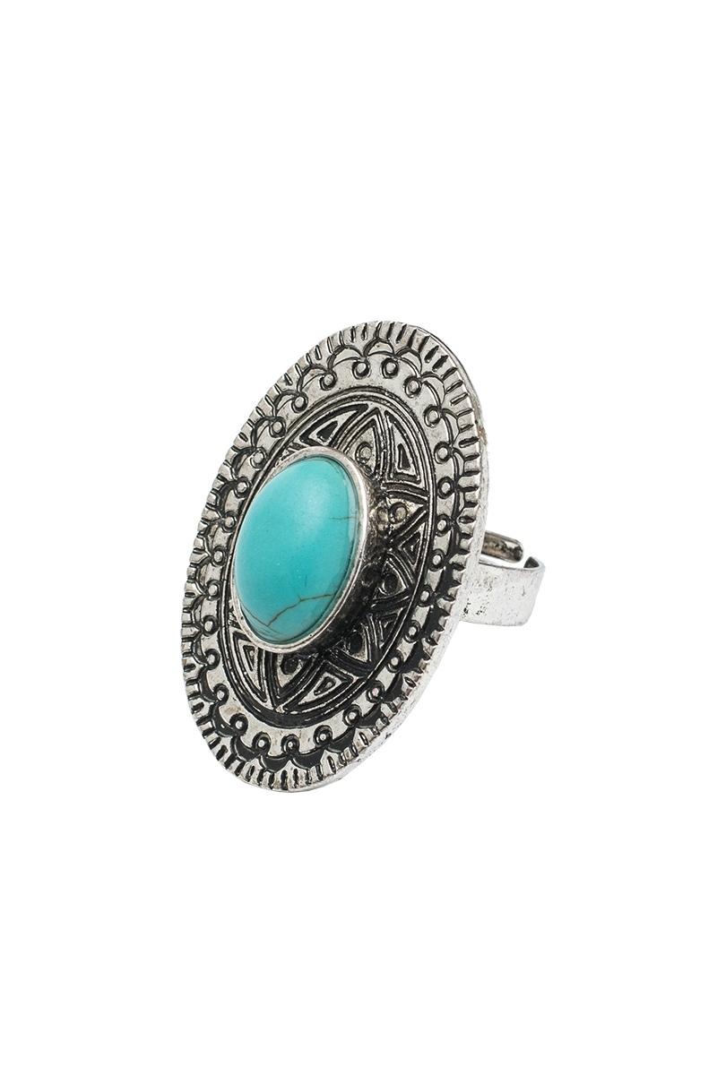 Αντικέ Ασημί Δαχτυλίδι με Γαλάζια Πέτρα