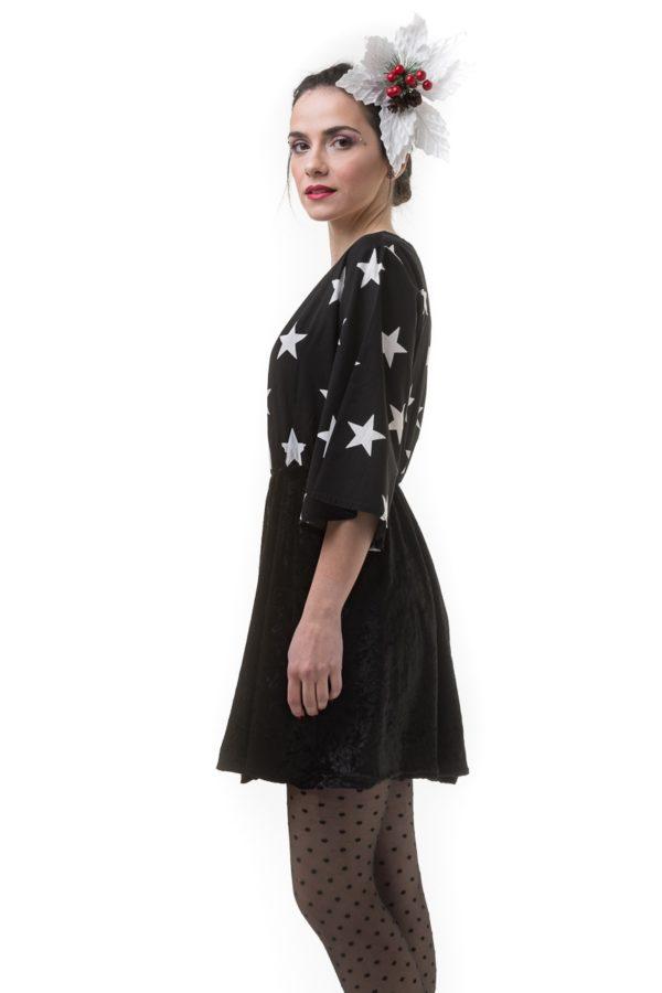 Μαύρο Κοντό Βελούδινο Φόρεμα με Print Αστέρια