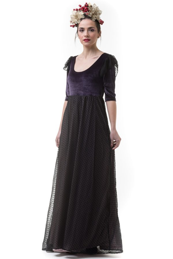 Μακρύ Φόρεμα Βελούδο Μοβ με Ζορζέτα Πουά