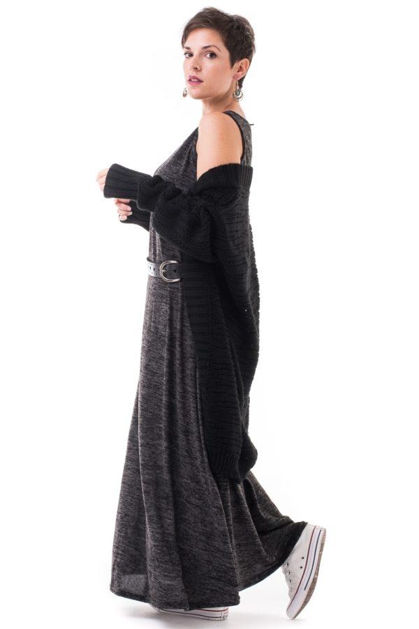 Γκρι Maxi Φόρεμα Αμάνικο