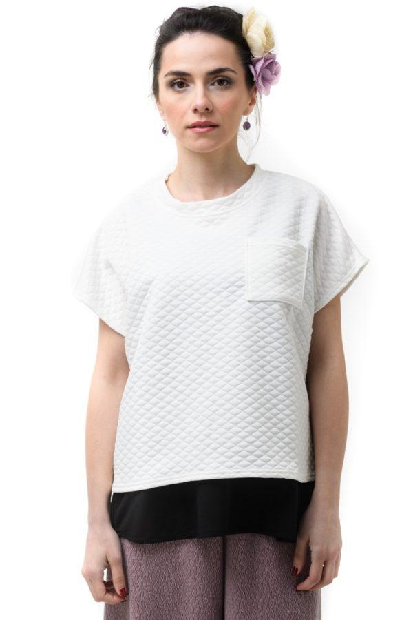 Άσπρη Μπλούζα Καπιτονέ Κοντομάνικη