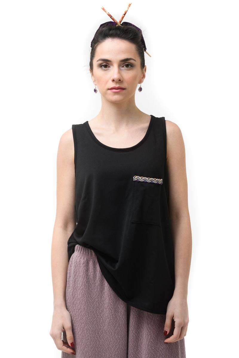 Μαύρη Μπλούζα Φανελάκι Δίχτυ με Τσέπη