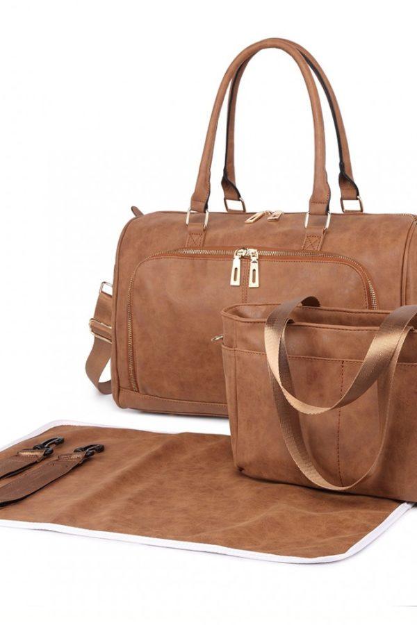 Καφέ Τσάντα Αλλαξιέρα Leather Look 3 Pcs