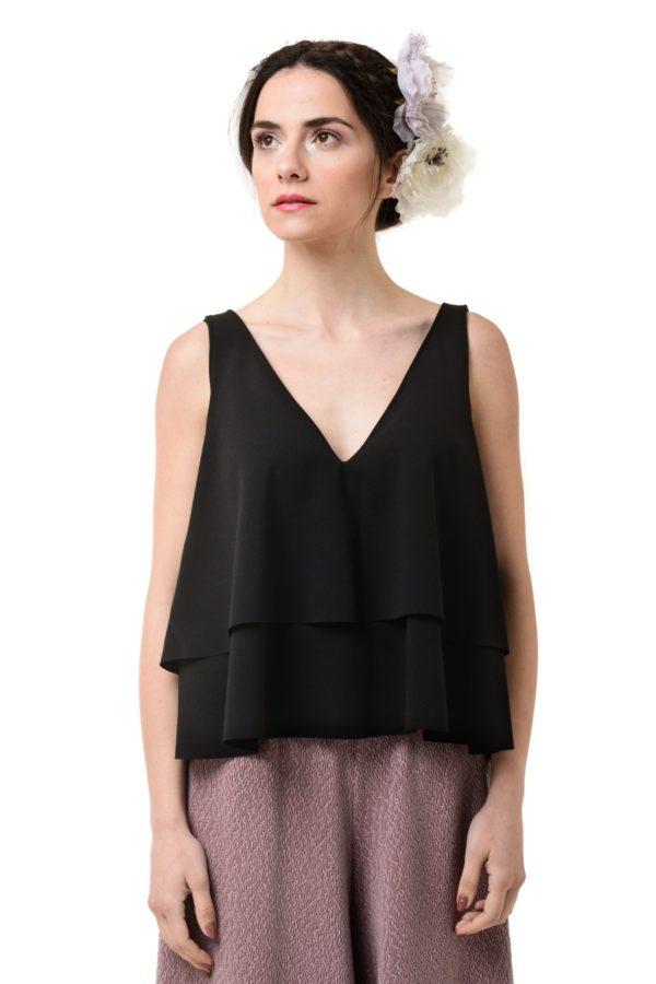 Μαύρη Μπλούζα Κοντή με Διπλό Βολάν