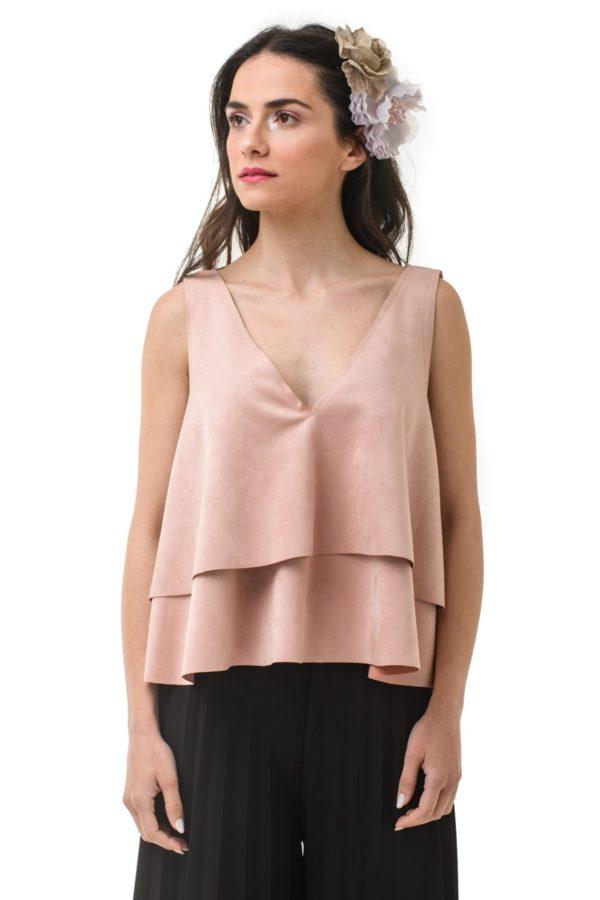 Ροζ Σουέντ Μπλούζα Κοντή με Διπλό Βολάν
