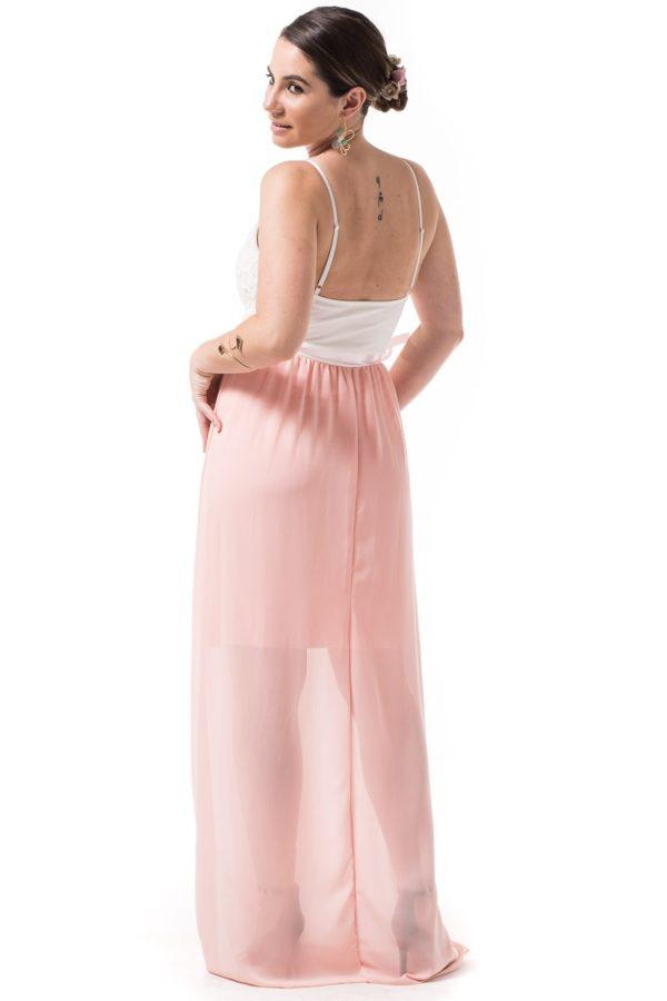 Maxi Φόρεμα με Δαντέλα Άσπρο Ροζ