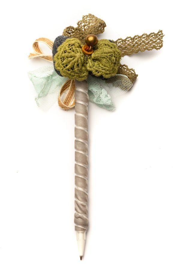Στυλό με Διακόσμηση Φιόγκο Χακί