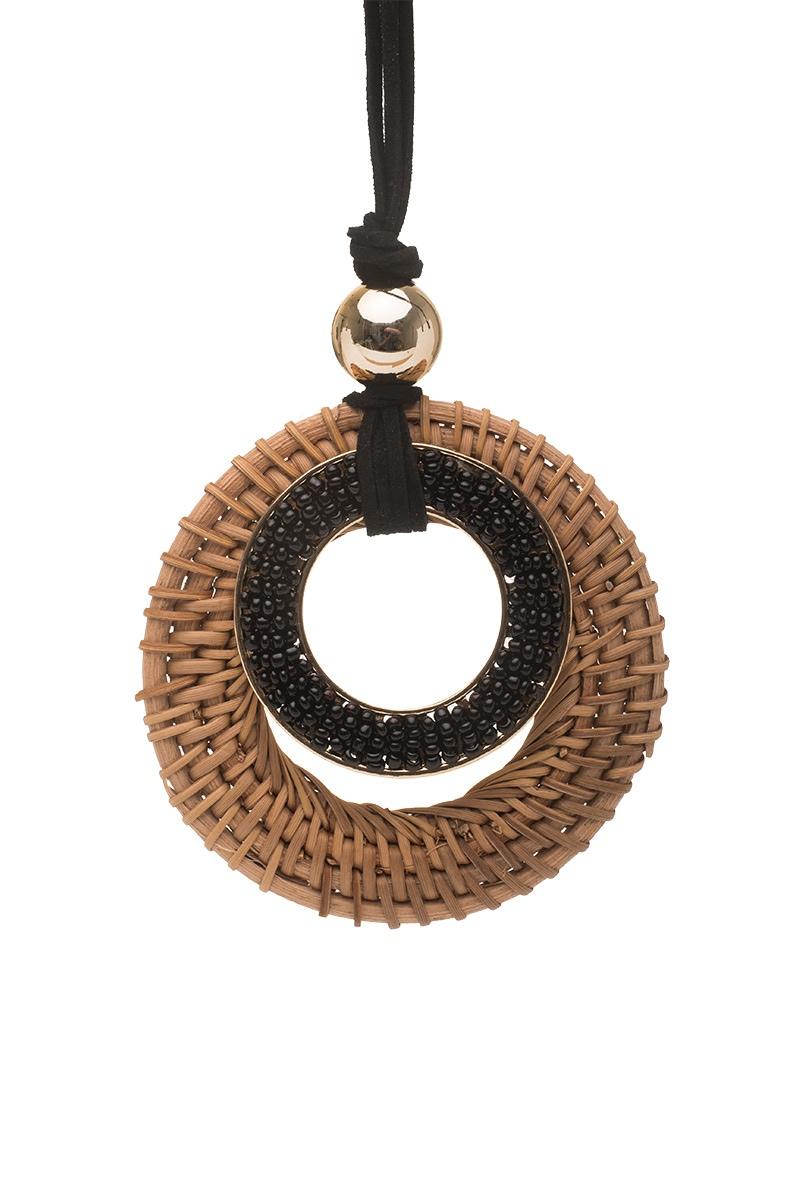 Μακρύ Κολιέ με Κρεμαστό Κύκλους από Ψάθα & Χάντρες
