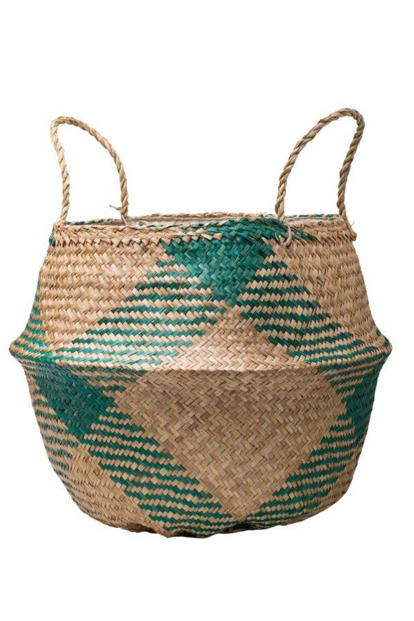 Πράσινη Ψάθινη Τσάντα Καλάθι Πλεκτό