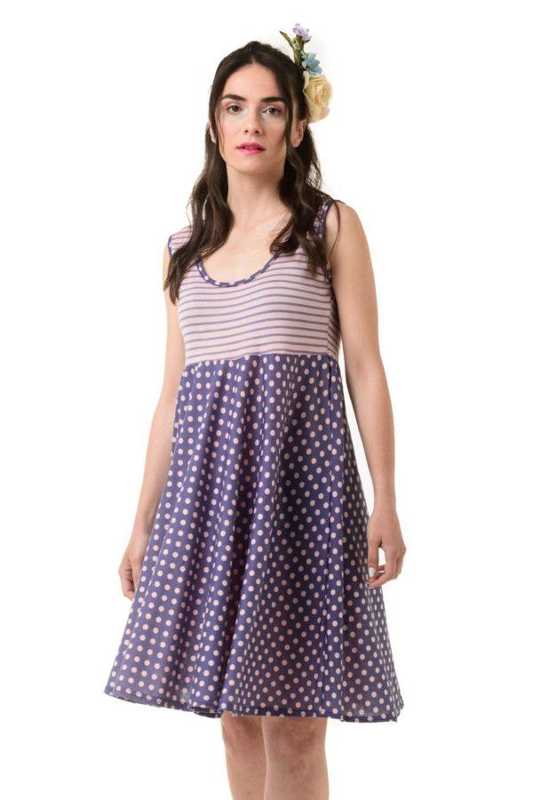 Μοβ Κοντό Φόρεμα Πουά & Ριγέ