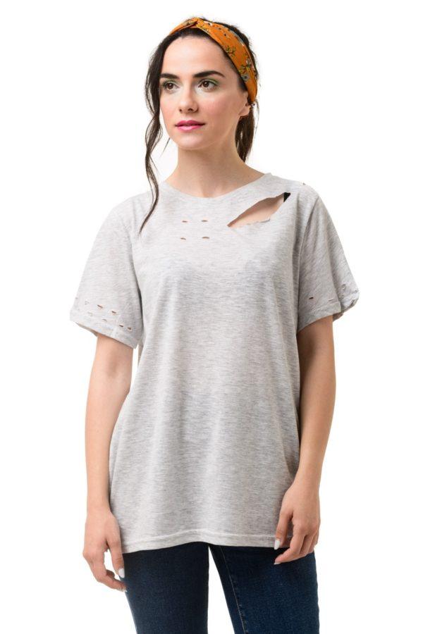 Γκρι Κοντομάνικο Μπλουζάκι με Κοψίματα